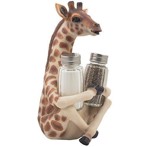 Table Giraffe (Decorative Giraffe Salt and Pepper Shaker Set with Display Stand Holder Figurine for African Jungle Safari Kitchen Decor Statuettes & Sculptures As Spice Racks with Zoo Animal Decorations As Great Art Gifts)