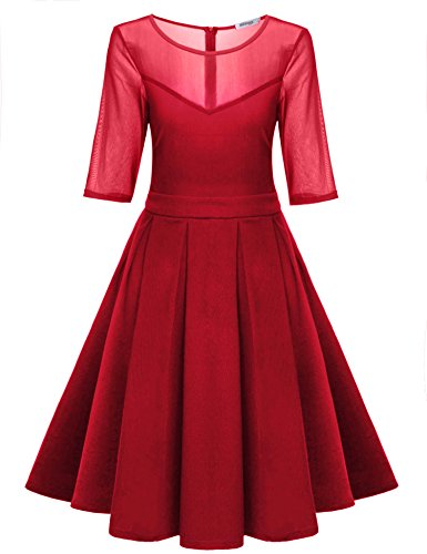 [Meaneor Womens Cocktail Formal Evening Dress Sexy Fit to Flare Mini Dress (Red/S)] (Dresses From The 1920s)