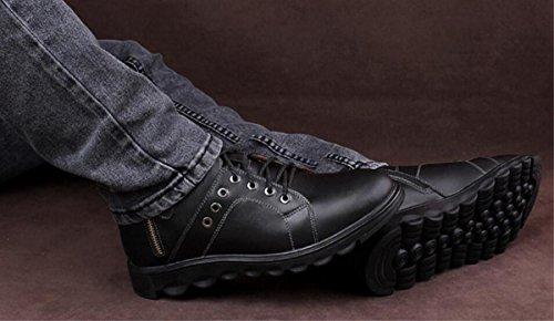 Neue Leder Herrenschuhe Outdoor Freizeit Warm Fashion High-Help Stiefel, Schwarz / Braun / Rot black