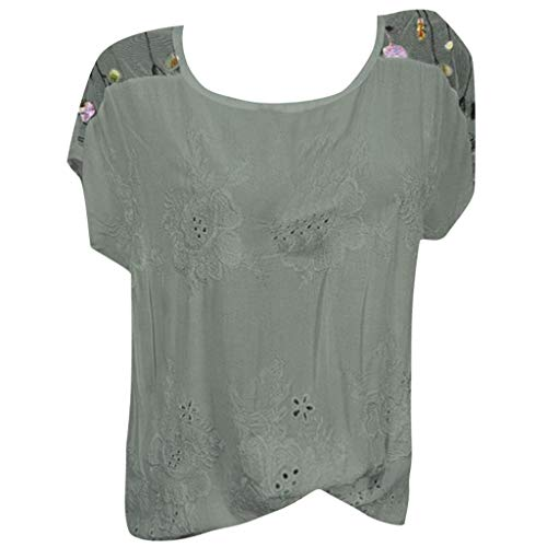 Casual Cold Off Shoulder Lace Polka Dot Women Solid Blouses,Plus Size Printed Loose Feather Daily T-Shirt Top Sunmoot