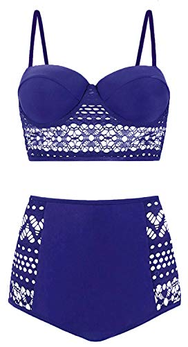 Amourri Womens Vintage Polka Underwire High Waisted Swimsuit Bathing Suits Bikini (Z3- Lace Blue, XX-Large (fits Like US 10-12))