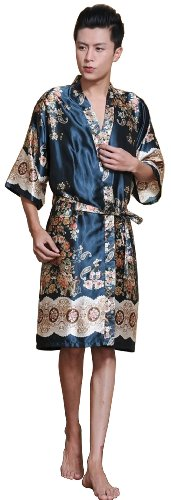 Sunrise Men's Kimono Collar Printed Satin Bathrobe Robe (1) (Male Robes)