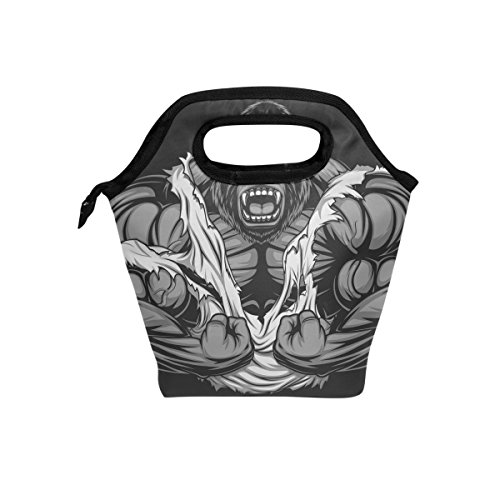 Lunch Tote Bag Ferocious Gorilla Handbag Lunchbox Food Container Gourmet Tote Cooler Warm Pouch For School Work Office Travel Outdoor By Saobao - Ferocious Gorilla