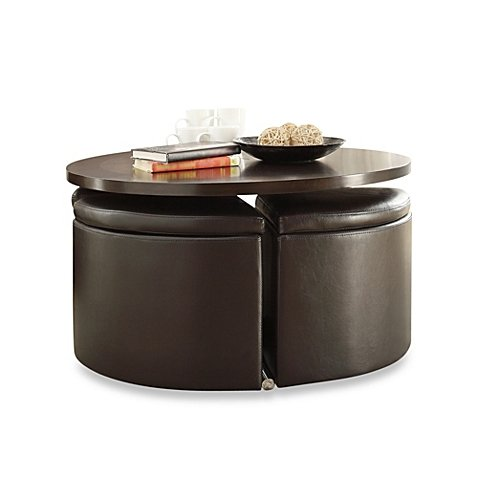 5-piece cocktail table set with four storage ottoman stool by cocktail