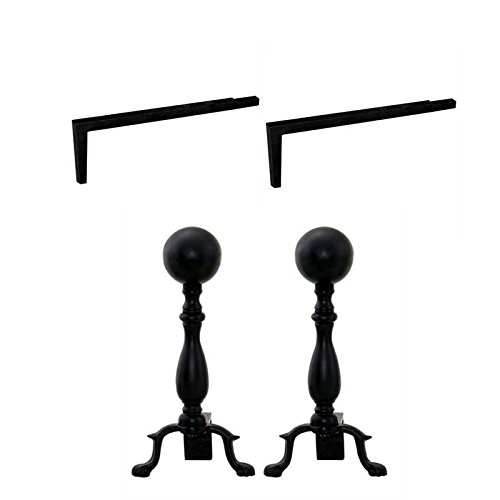 - Home Square 2 Piece Fireplace Tool Set with Long Shank for Andiron & Black Ball Andiron
