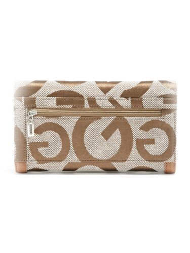 G by GUESS Women's Teige Checkbook Wallet, TAUPE MULTI