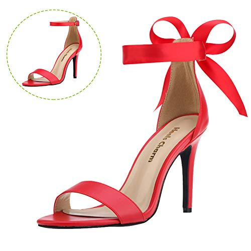 - Women's Red Size 7.5Lace Up Stilettos Open Toe Strappy Heeled Sandals Dress Sandals