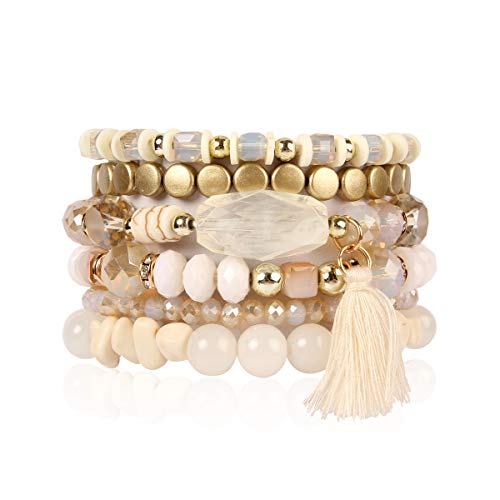 RIAH FASHION Bead Multi Layer Versatile Statement Bracelets - Stackable Beaded Strand Stretch Bangles Sparkly Crystal, Tassel Charm (Coin Bead/Tassel - Natural)