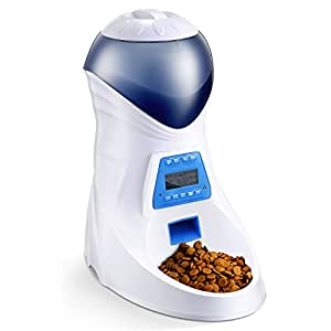 HoneyGuaridan A26 Automatic Pet Feeder Food Dispenser - Removable Food Container, Portion Control & Voice Recording - Timer Programmable 6-Meal for Dogs & Cats & Small Animals - Double Power Optional