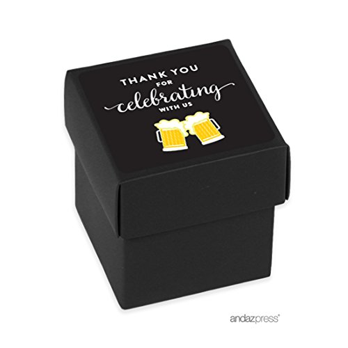 Andaz Press Birthday Mini Square Party Favor Box DIY Kit, Thank You for Celebrating With Us, Beer Mugs Cheers!, 20-Pack, For Retirement Graduation Decor Decorations Dessert Table Gifts ()