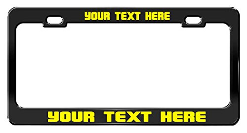CUSTOM PERSONALIZED, Black Metal License Plate Frame, Yellow Writing, Magnum -
