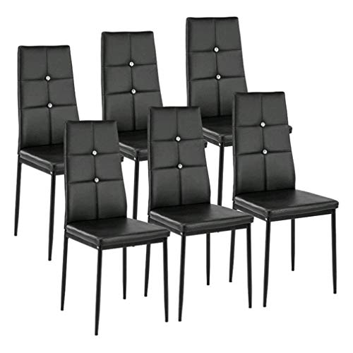 Kitchen Dining Chairs Set of 6 with Sturdy Metal Legs, High Backrest Dining Breakfast Chair for Home Kitchen Living Room (6PCS+Black)
