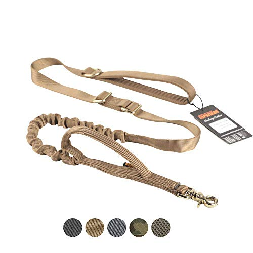 EXCELLENT ELITE SPANKER Tactical Bungee Dog Leash Military Dog Leash Adjustable K9 Tactical Leash Elastic Leads Rope with 2 Control Handle