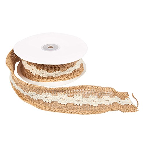 - Burlap Ribbon - Natural Jute Ribbon, Rustic Wedding Ribbon with Cotton Lining for Crafts, Decoration, Embellishments, Brown with White Lining, 5 Yard