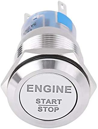 Akozon Engine Start Switch 12V Waterproof Car Engine Start Push Button Switch Ignition Starter Silver