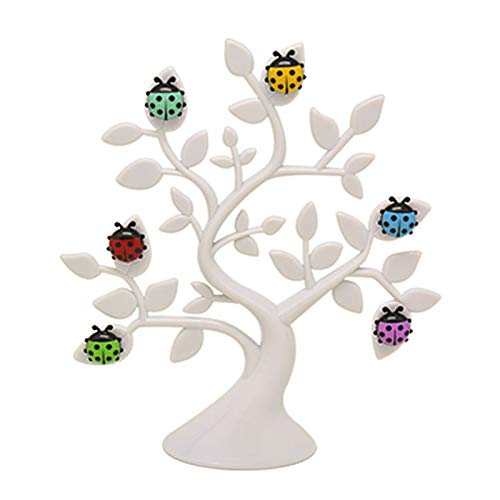 (Chris.W 1Pc Creative Adorable Tree Shape Ladybug Magnet Tabletop Memo Clip Holder Display for Cards/Notes/Photos/Pictures/Placecards, White)