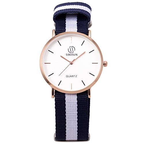 Wrist Watch Ultra-Thin Minimalist with Multi-Color Striped Band SIBOSUN Men Quartz Classic Blue White Strap Analog