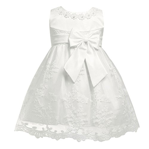 New Girls Christening Baptism Dress - YiZYiF Infant Baby Girls Embroidered Flower Bow Dress Baptism Christening Party Gown Ivory 6-9 Months