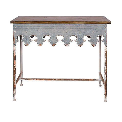 Creative Co-op DA2068 Distressed Metal Table with Wood (Scalloped Side Table)