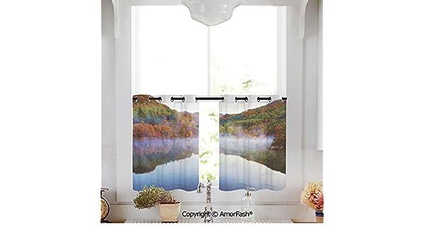 AmorFash - Cortinas con diseño de narcisos para Cocina, Cortinas, 2 Paneles, Tulipanes de Primavera y Flores de narcisos en Colores Vibrantes con tablón de Madera: Amazon.es: Hogar