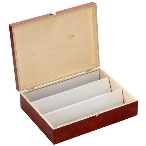 Flaschenbox mahagoni lackiert mit Klappdeckel und drei Fächern - Maße: ca. 358 x 270 x 96 mm (BxTxH) *** für Flaschen, Wein, Spirituosen, Weinbox, Weinkiste, Flaschenbox, Flaschenkiste, Weinkassette, Flaschenkassette, Holzartikel ***