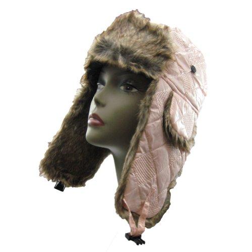 (Wetherproof Warm Faux Fur Trooper Trapper Aviator Hat Glossy Plaid Pattern for Women & Teens (Champagne Pink) )