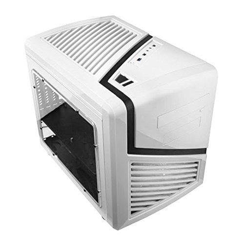 APEVIA X-QBER-WHT Micro ATX Cube Gaming/HTPC Case, Supports VGA up to 320mm/ATX PS, 2 x Windows, Top USB3.0/USB2.0/HD Audio/SD/Micro SD, 1 x 140mm White LED fan, Flip Open Design, Dust Filter - White