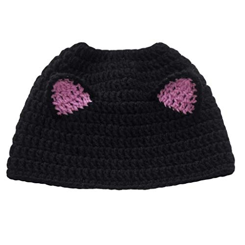 Kids Lovely Cartoon Winter Cable Knit Ear Thermal Headband Cold Weather Enhanced Warm Fleece Fuzzy Lined Croched Stretchy Headwrap Thick Hat Cap for Children Toddler Boy Girl (Black)