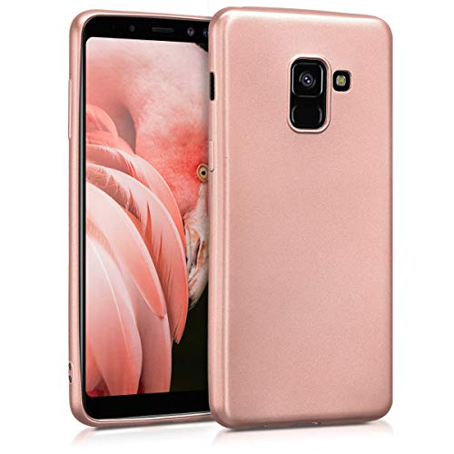 kwmobile TPU Silicone Case Compatible with Samsung Galaxy A8 (2018) - Soft Flexible Protective Phone Cover - Metallic Rose Gold