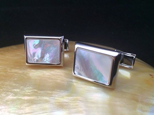 Genuine Mother of Pearl Cufflinks, Wedding Cufflinks with Mother of Pearl inlay, Mens Cufflinks, Unique Cufflinks Birthday Wedding Anniversary Gifts for Him by ADARNA GALLERY