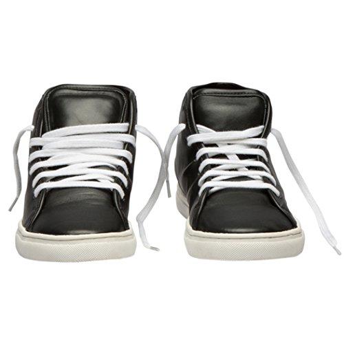Tedish Sneakers Dames Wandelschoenen Meisje Leder Comfortabele Ongedwongen Lace-up Flats Td005 Esoterische Zwart Zwart