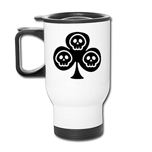 Ace Spade Cute Skull Stainless AUTO Travel Mug White