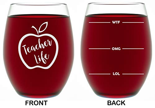Teacher Gifts For Women or Men - Appreciation Gifts - 15 OZ Stemless Wine Glass