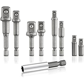 TEMO 10pc 3//8 inch Power Socket Extension Adapter Bit Set for Impact Driver 10mm