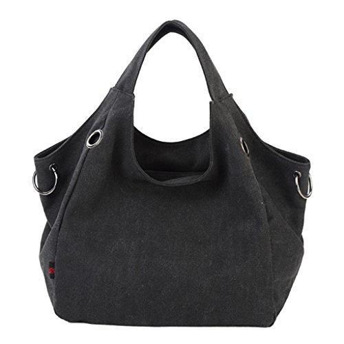 LINGTOM Casual Vintage Canvas Totes Pure Color Simple Style Hobo Canvas Handbag Shoulder Bag,Black