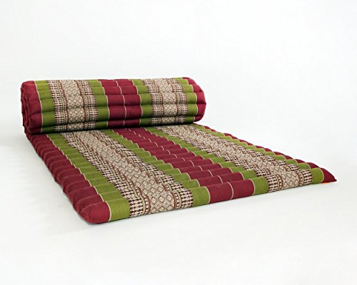 Design by UnseenThailand Roll Up Thai Mattress, Kapok Fabric, Premium Double Stitched, 79x30x2 inches. (Red Green) by UnseenThailand Warehouse