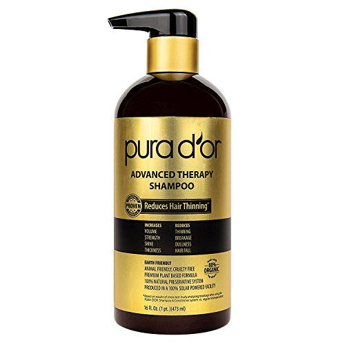 PURA D'OR Advanced Therapy Shampoo Reduces Hair Thinning and Increase Volume, Made with Premium Organic Argan Oil & Aloe Vera, 16 Fluid Ounce (Shine Therapy Shampoo)