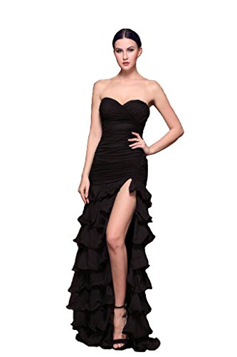 Stylish Slit Dress Evening Formal Prom Gowns Mermaid Neck Women Skirt Sexy Black V tFxqXwqH