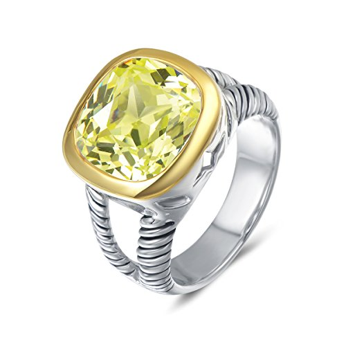 UNY Ring Twisted Cable Wire Designer Inspired Fashion Brand David Vintage Love Antique Women Jewelry Gift (Peridot, 6)