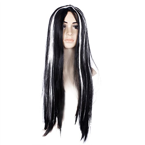 Tinksky Long Straight Black Synthetic Fiber wig with white highlight Wig Ghost Wig For Halloween Cosplay Costume gift for Women Girls