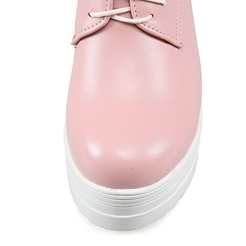 Fermé Hauts Bout Voguezone009 Pompes Chaussures Femmes Solides Lacer Talons Rond Rose De 6wW8O