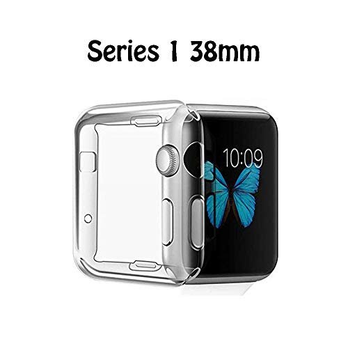 FINENIC Compatible with Apple Watch Series 1 38mm Screen Protector case Cover, TPU All-Around 0.3mm Ultra-Thin Cover case Compatible for Apple Watch Series 1 38mm]()
