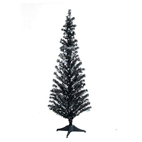 YuQi 5 Foot Black Tinsel Tree,Artificial Christmas Tree with Halloween Skull Shimmering Sequins for Best Halloween Decoration Prop