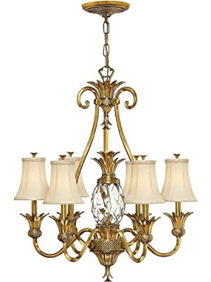 Plantation 6 Light Chandelier With Silk Shades, In 3 Finishes. Antique Pineapple Chandelier.