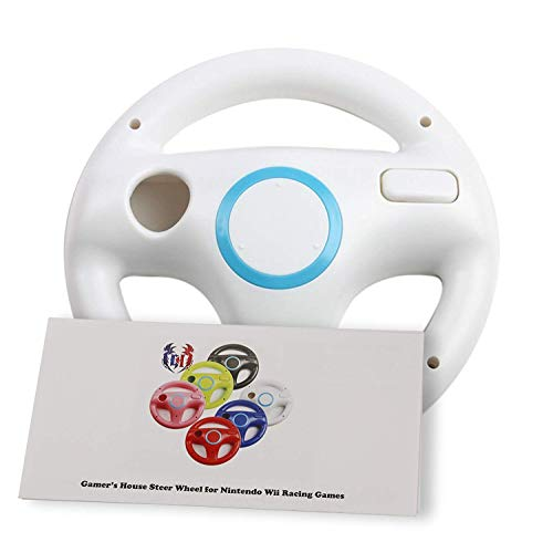 (GH Wii Steering Wheel for Mario Kart 8 and Other Nintendo Remote Driving Games, Wii (U) Racing Wheel for Remote Plus Controller - Original White (6 Colors Available))