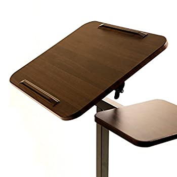 "Seville Classics Tilting Sit-stand Computer Desk Cart With Mouse Pad Table, Height-adjustable From 27.5"" To 40"" H, Walnut 2"