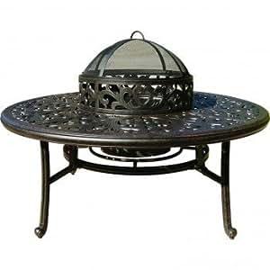 "Catalina Outdoor Patio Coffee Table 52"" Dark Bronze Cast Aluminum"