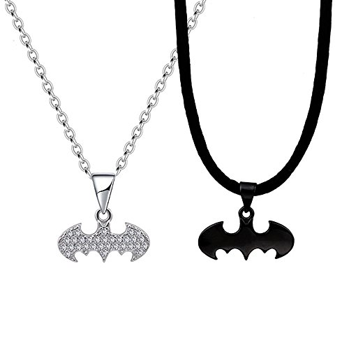 MUZHE Cute Vampire Bats Necklace Silver Leather Rope Couple Necklace for Girlfriend Boyfriend Gifts (couple) by MUZHE