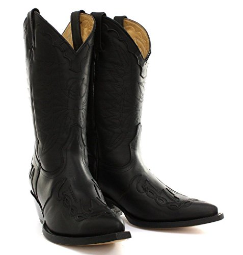 Grinders Arizona Noir Unisexe Cuir Slip Boot Cowboy occidental sur les bottes pointues