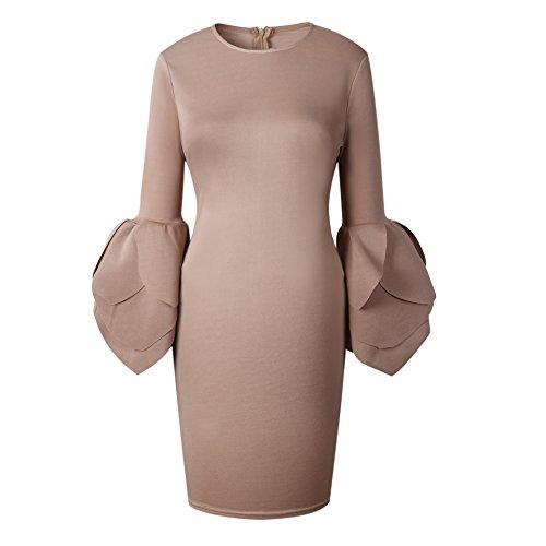 Sleeve Lotus Fit Slim Long Dress RAFAGO Camel 7waRq